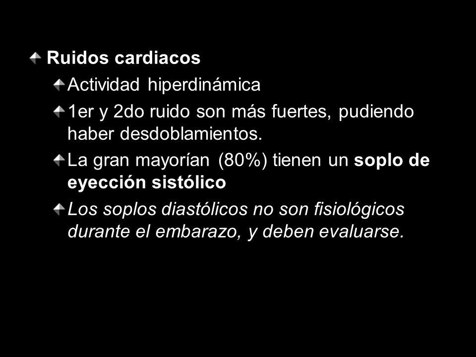 Ruidos cardiacos Actividad hiperdinámica. 1er y 2do ruido son más fuertes, pudiendo haber desdoblamientos.