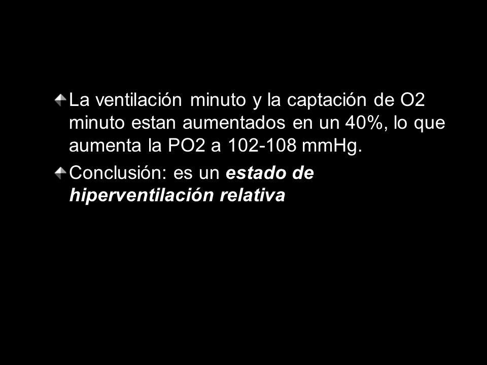 La ventilación minuto y la captación de O2 minuto estan aumentados en un 40%, lo que aumenta la PO2 a 102-108 mmHg.