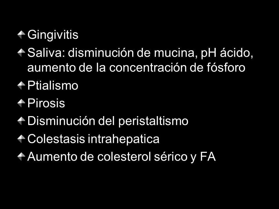 Gingivitis Saliva: disminución de mucina, pH ácido, aumento de la concentración de fósforo. Ptialismo.