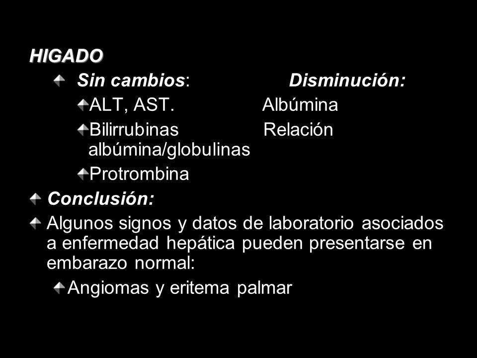 HIGADO Sin cambios: Disminución: ALT, AST. Albúmina. Bilirrubinas Relación albúmina/globulinas.