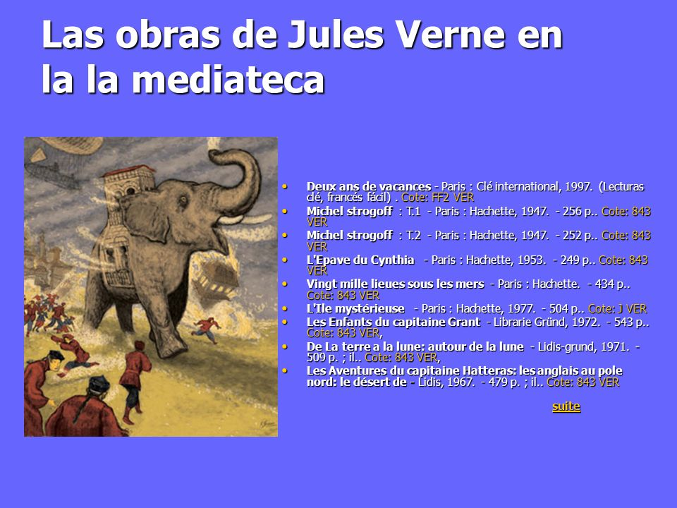 Las obras de Jules Verne en la la mediateca