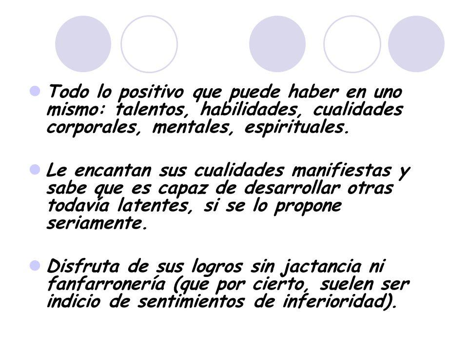 Todo lo positivo que puede haber en uno mismo: talentos, habilidades, cualidades corporales, mentales, espirituales.