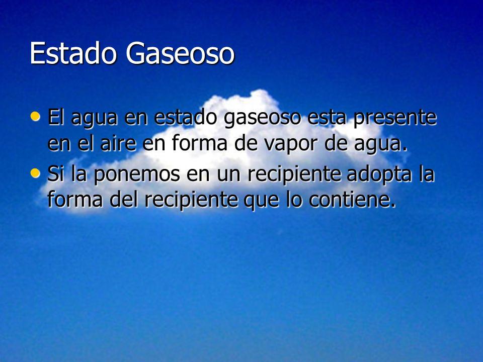 Estado Gaseoso El agua en estado gaseoso esta presente en el aire en forma de vapor de agua.