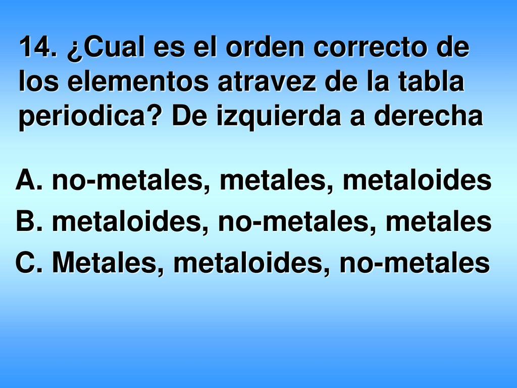 metaloides no metales 14 cual es el orden correcto de los elementos atravez de la tabla periodica - Tabla Periodica Con Metales No Metales Y Metaloides