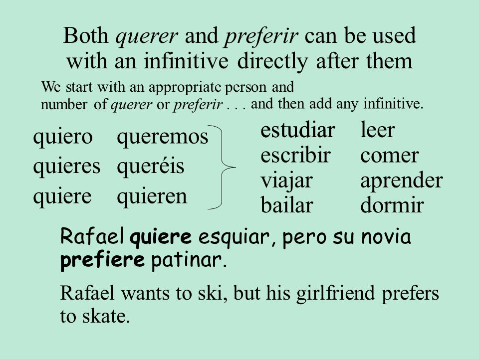 Both querer and preferir can be used with an infinitive directly after them
