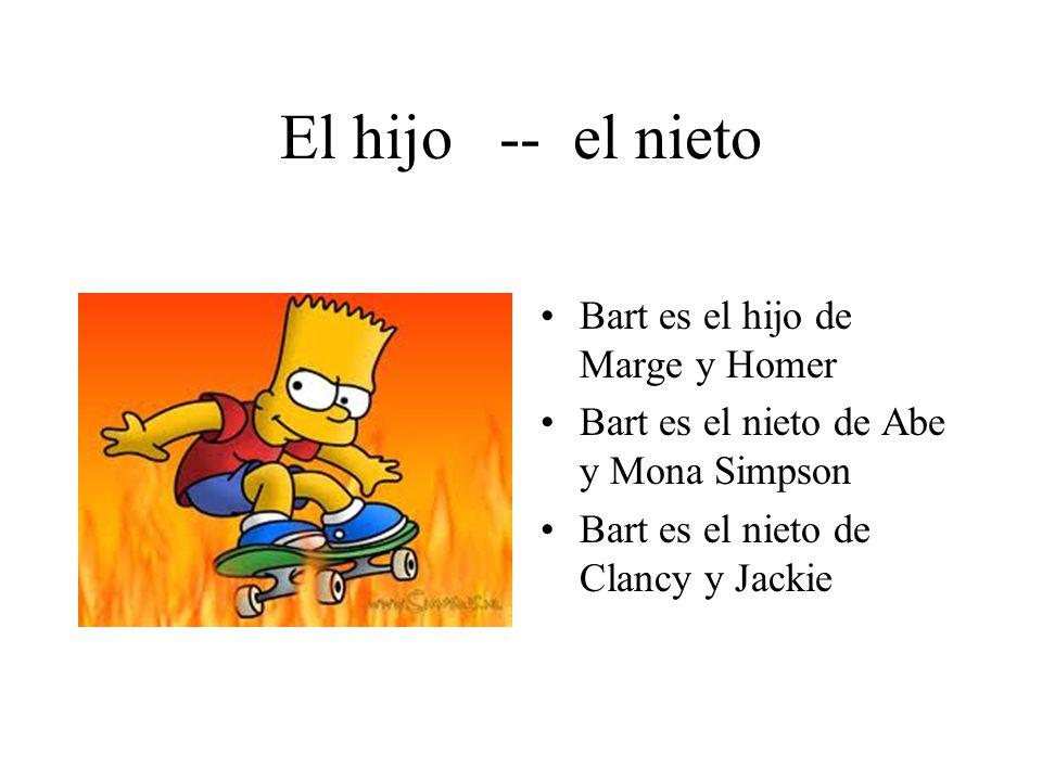 El hijo -- el nieto Bart es el hijo de Marge y Homer