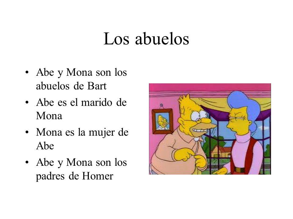 Los abuelos Abe y Mona son los abuelos de Bart