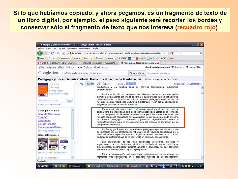 Si lo que habíamos copiado, y ahora pegamos, es un fragmento de texto de un libro digital, por ejemplo, el paso siguiente será recortar los bordes y conservar sólo el fragmento de texto que nos interesa (recuadro rojo).