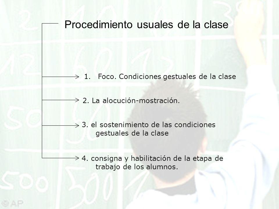 Procedimiento usuales de la clase