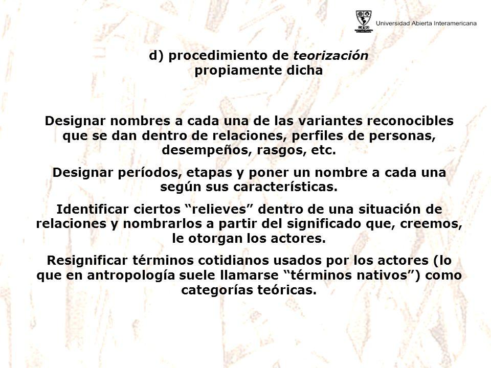 d) procedimiento de teorización propiamente dicha
