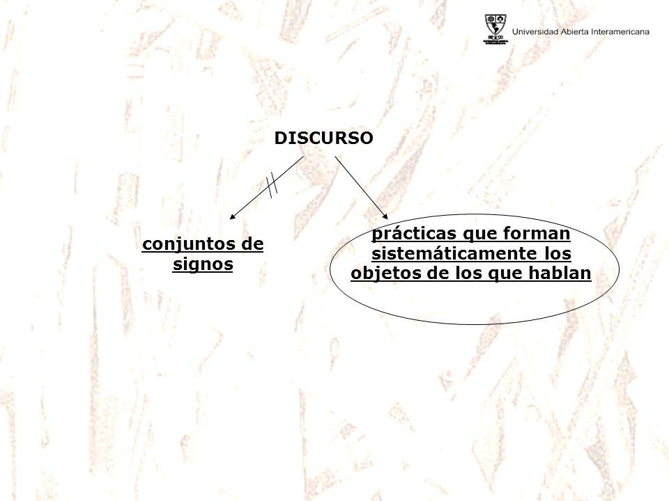 prácticas que forman sistemáticamente los objetos de los que hablan