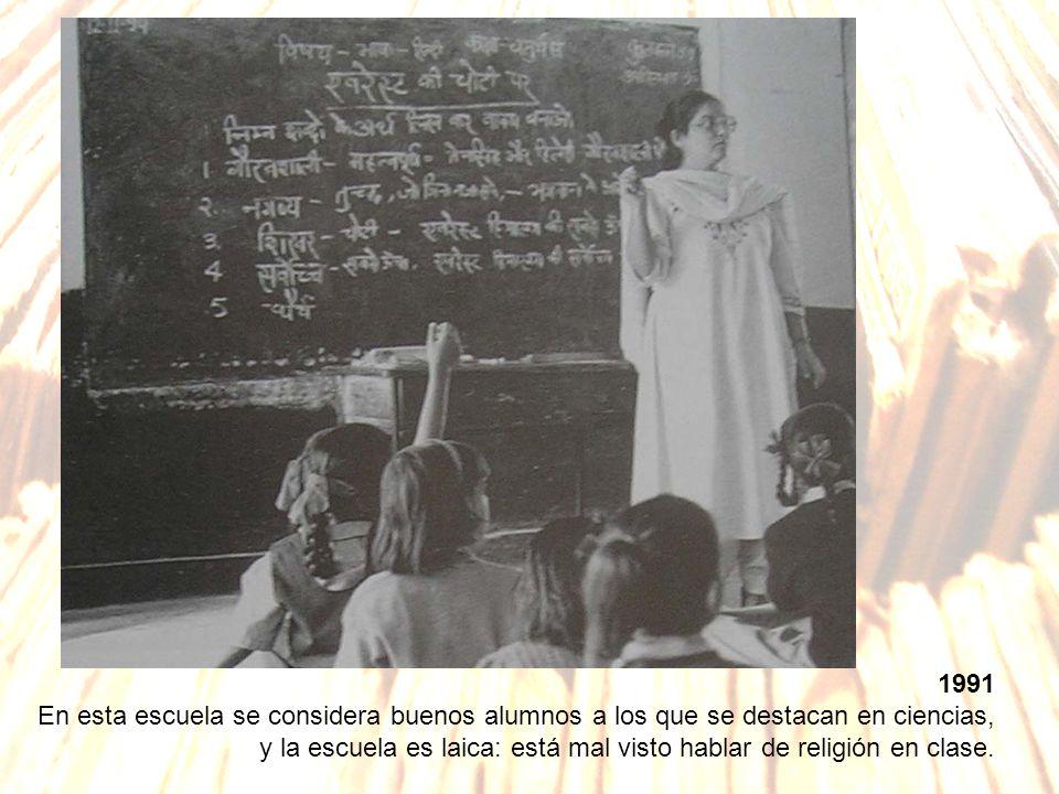 1991 En esta escuela se considera buenos alumnos a los que se destacan en ciencias,