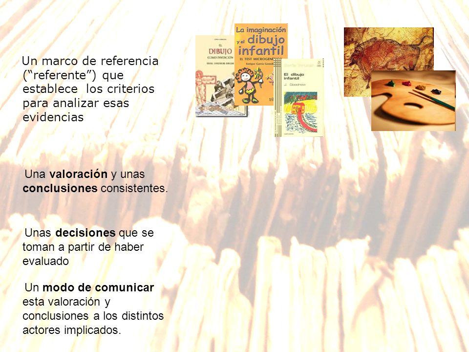 Un marco de referencia ( referente ) que establece los criterios para analizar esas evidencias
