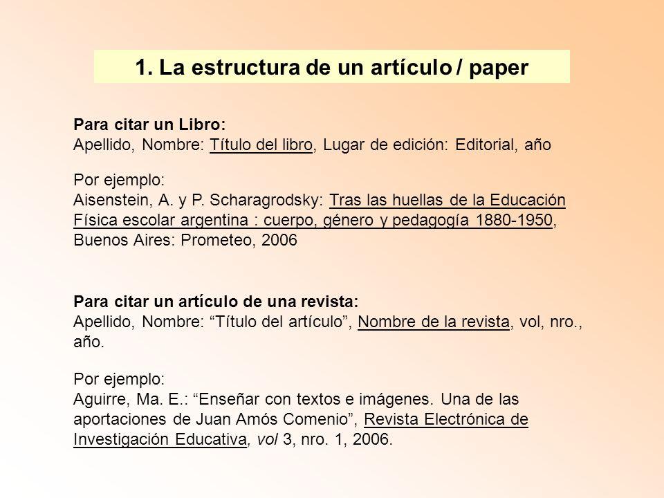 1. La estructura de un artículo / paper