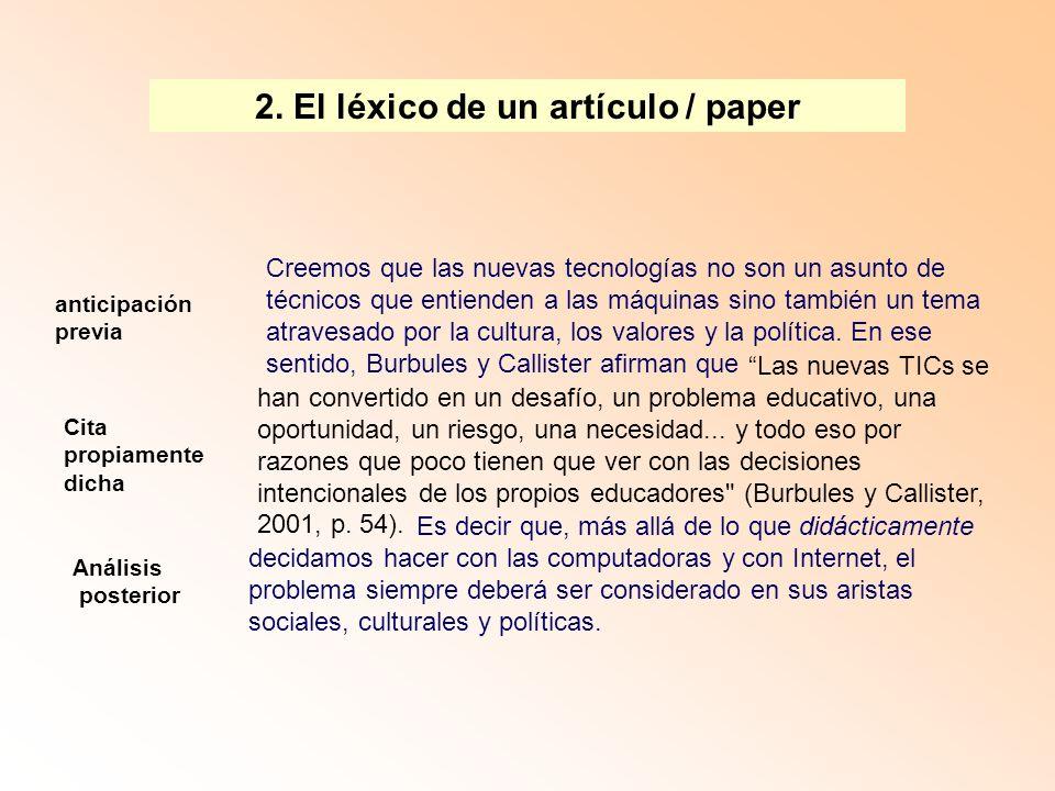 2. El léxico de un artículo / paper