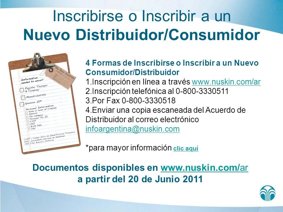 Inscribirse o Inscribir a un Nuevo Distribuidor/Consumidor