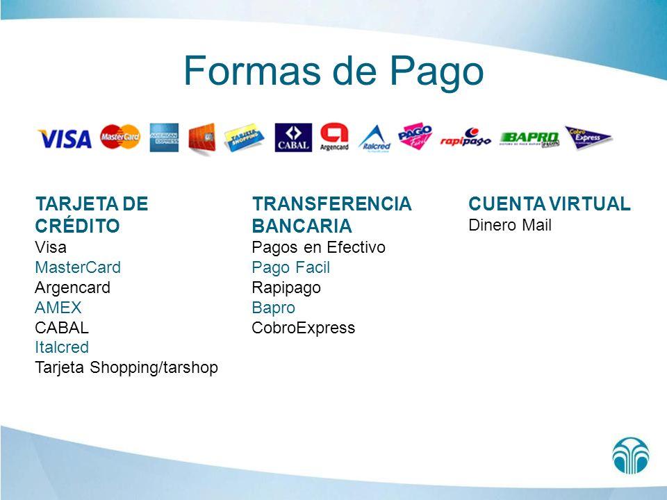 Formas de Pago TARJETA DE CRÉDITO TRANSFERENCIA BANCARIA
