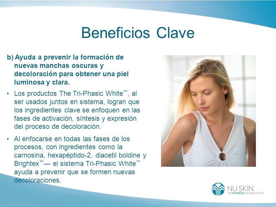 Beneficios Clave b) Ayuda a prevenir la formación de nuevas manchas oscuras y decoloración para obtener una piel luminosa y clara.