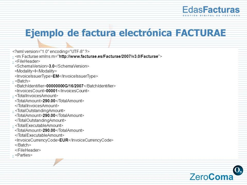 Ejemplo de factura electrónica FACTURAE