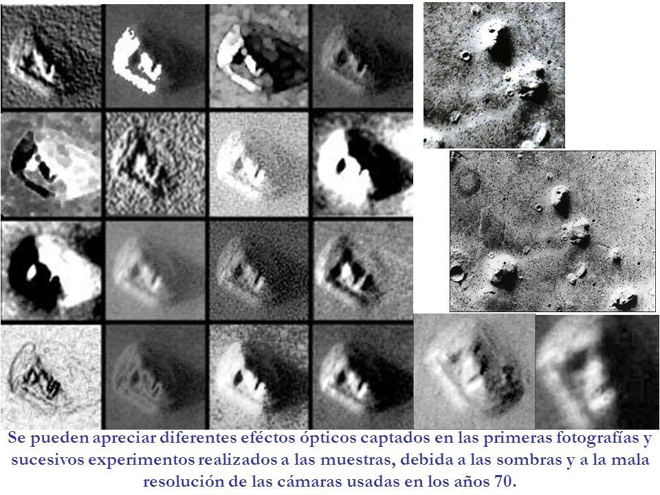 Se pueden apreciar diferentes eféctos ópticos captados en las primeras fotografías y sucesivos experimentos realizados a las muestras, debida a las sombras y a la mala resolución de las cámaras usadas en los años 70.
