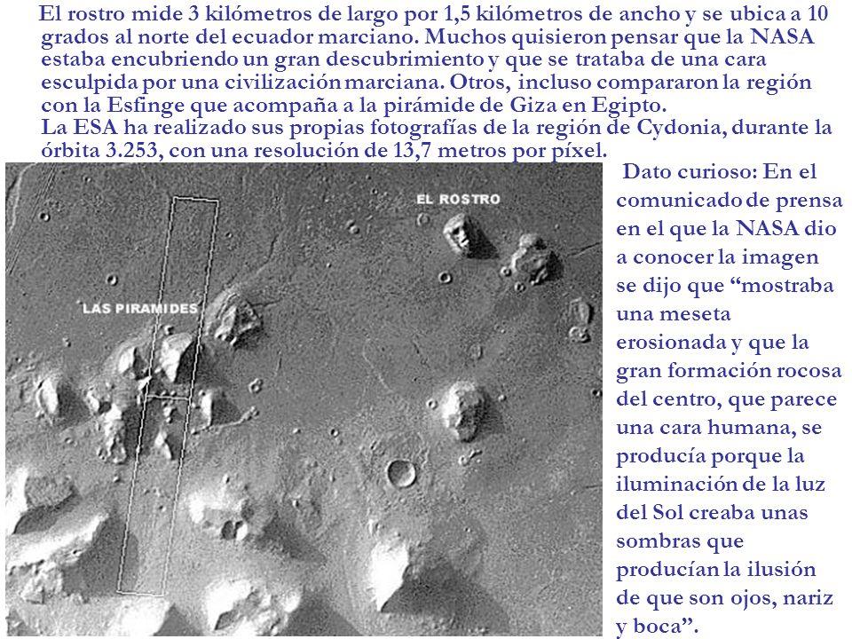 El rostro mide 3 kilómetros de largo por 1,5 kilómetros de ancho y se ubica a 10 grados al norte del ecuador marciano. Muchos quisieron pensar que la NASA estaba encubriendo un gran descubrimiento y que se trataba de una cara esculpida por una civilización marciana. Otros, incluso compararon la región con la Esfinge que acompaña a la pirámide de Giza en Egipto. La ESA ha realizado sus propias fotografías de la región de Cydonia, durante la órbita 3.253, con una resolución de 13,7 metros por píxel.