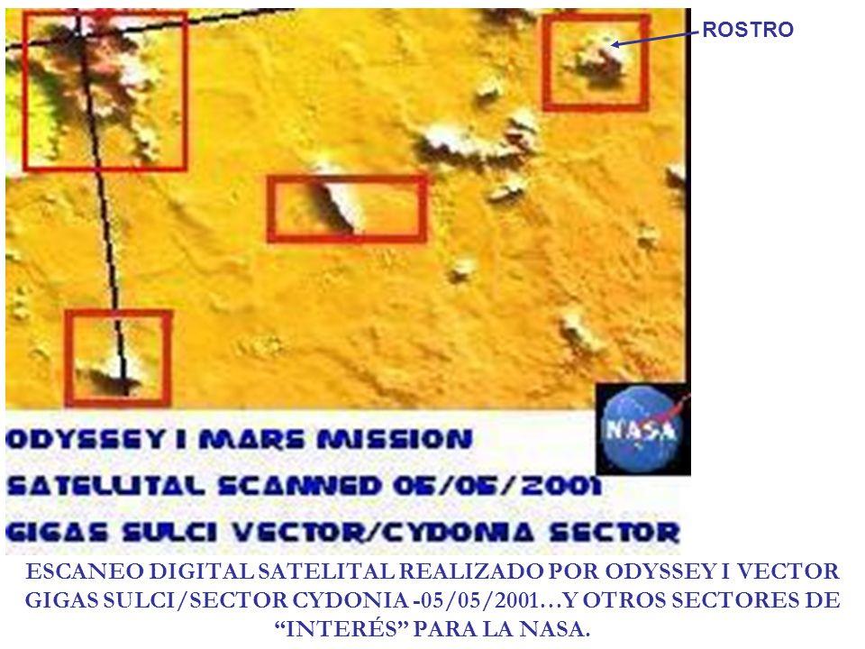 ROSTROESCANEO DIGITAL SATELITAL REALIZADO POR ODYSSEY I VECTOR GIGAS SULCI/SECTOR CYDONIA -05/05/2001…Y OTROS SECTORES DE INTERÉS PARA LA NASA.