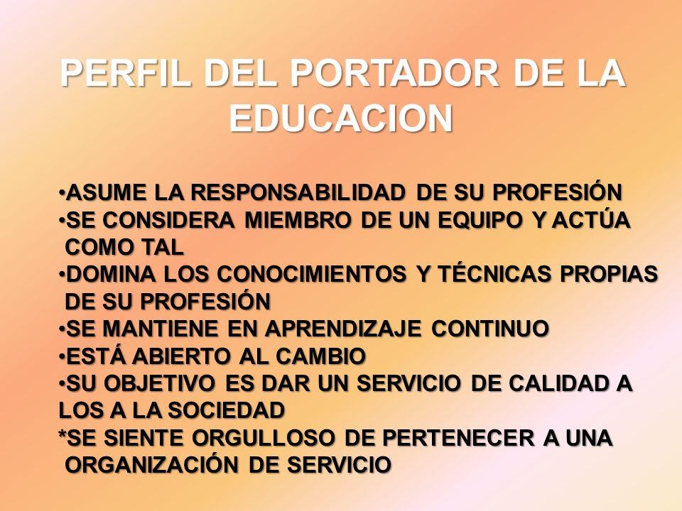 PERFIL DEL PORTADOR DE LA EDUCACION