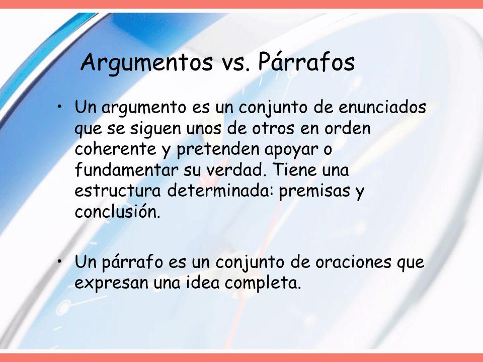 Argumentos vs. Párrafos