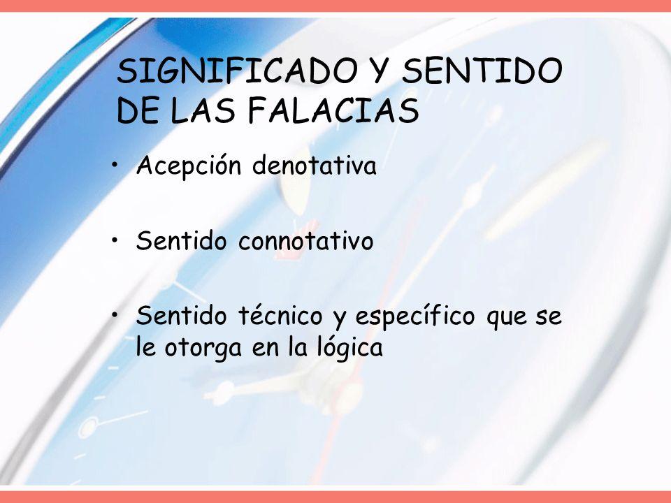 SIGNIFICADO Y SENTIDO DE LAS FALACIAS