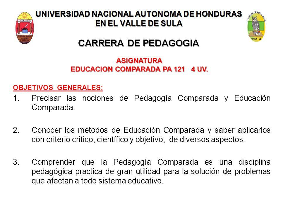 ASIGNATURA EDUCACION COMPARADA PA 121 4 UV.