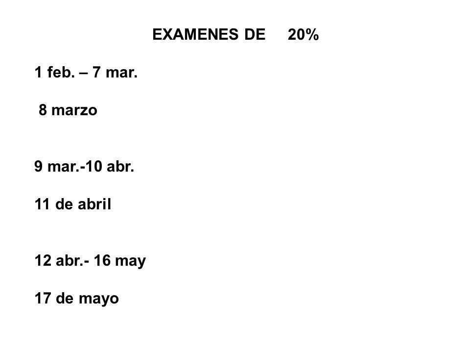EXAMENES DE 20% 1 feb. – 7 mar. 8 marzo.