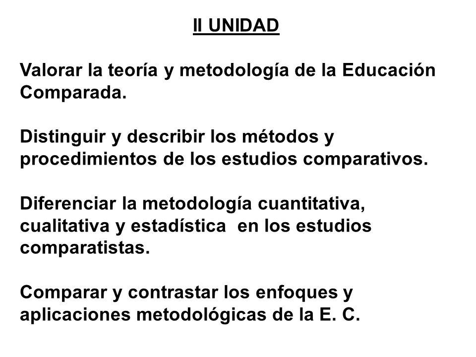 II UNIDAD Valorar la teoría y metodología de la Educación Comparada.