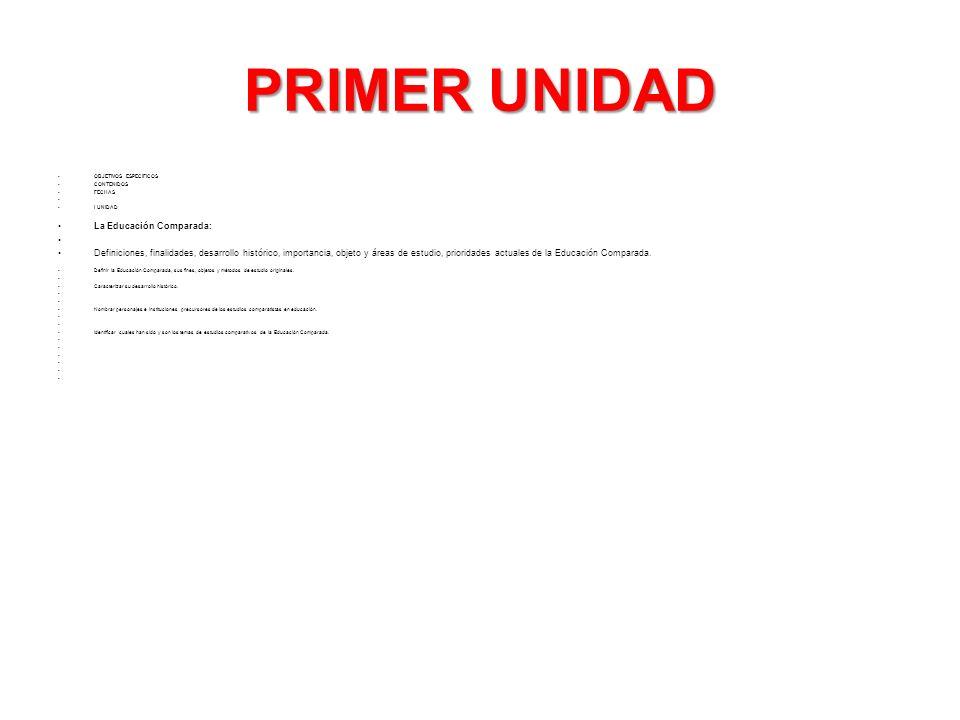 PRIMER UNIDAD La Educación Comparada: