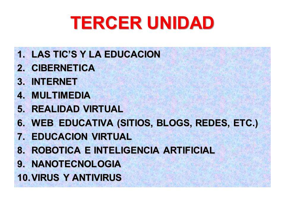 TERCER UNIDAD LAS TIC'S Y LA EDUCACION CIBERNETICA INTERNET MULTIMEDIA