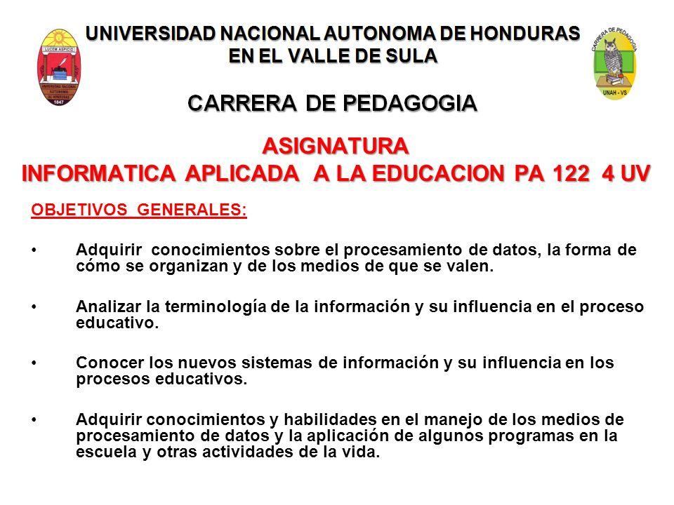UNIVERSIDAD NACIONAL AUTONOMA DE HONDURAS EN EL VALLE DE SULA CARRERA DE PEDAGOGIA ASIGNATURA INFORMATICA APLICADA A LA EDUCACION PA 122 4 UV