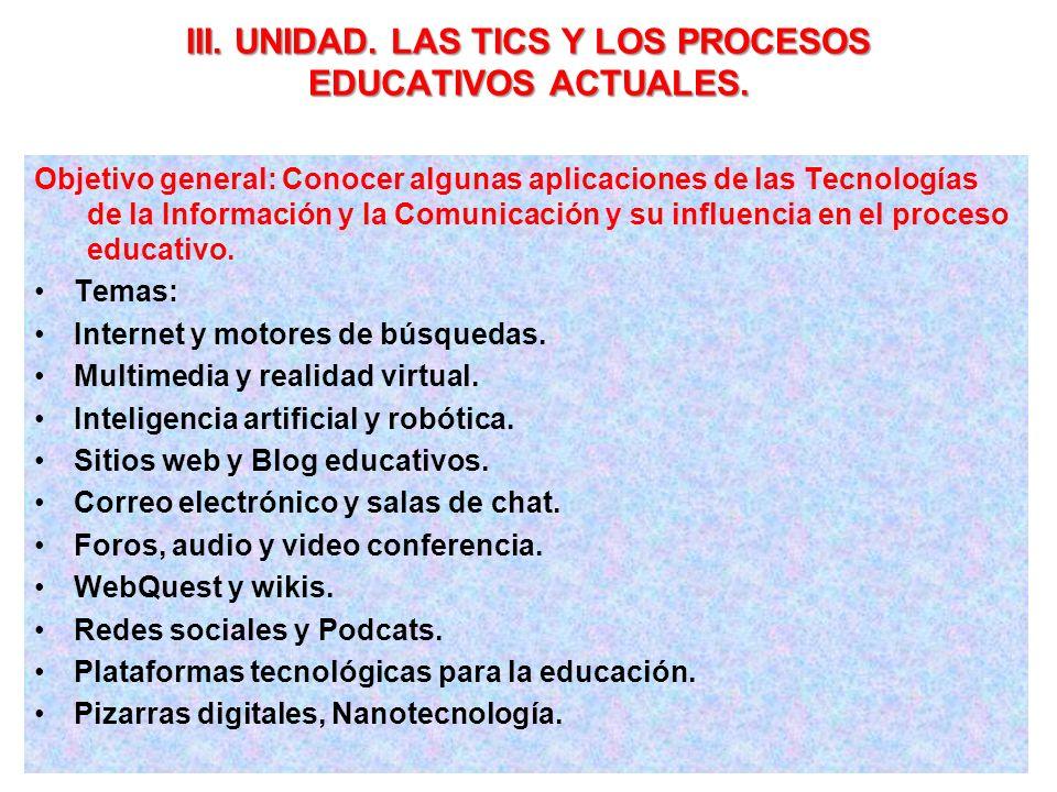 III. UNIDAD. LAS TICS Y LOS PROCESOS EDUCATIVOS ACTUALES.