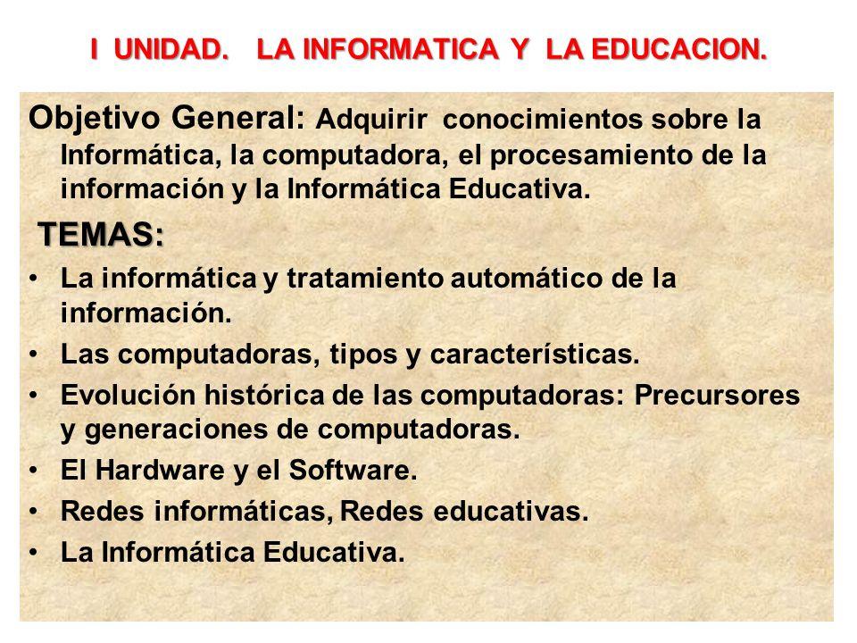I UNIDAD. LA INFORMATICA Y LA EDUCACION.
