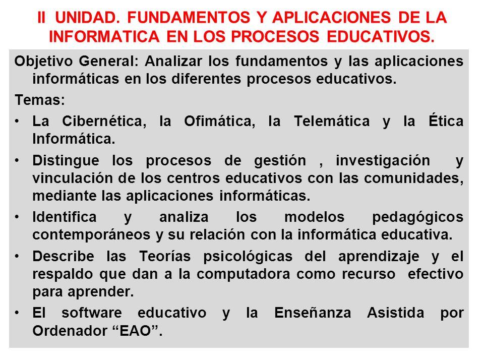II UNIDAD. FUNDAMENTOS Y APLICACIONES DE LA INFORMATICA EN LOS PROCESOS EDUCATIVOS.