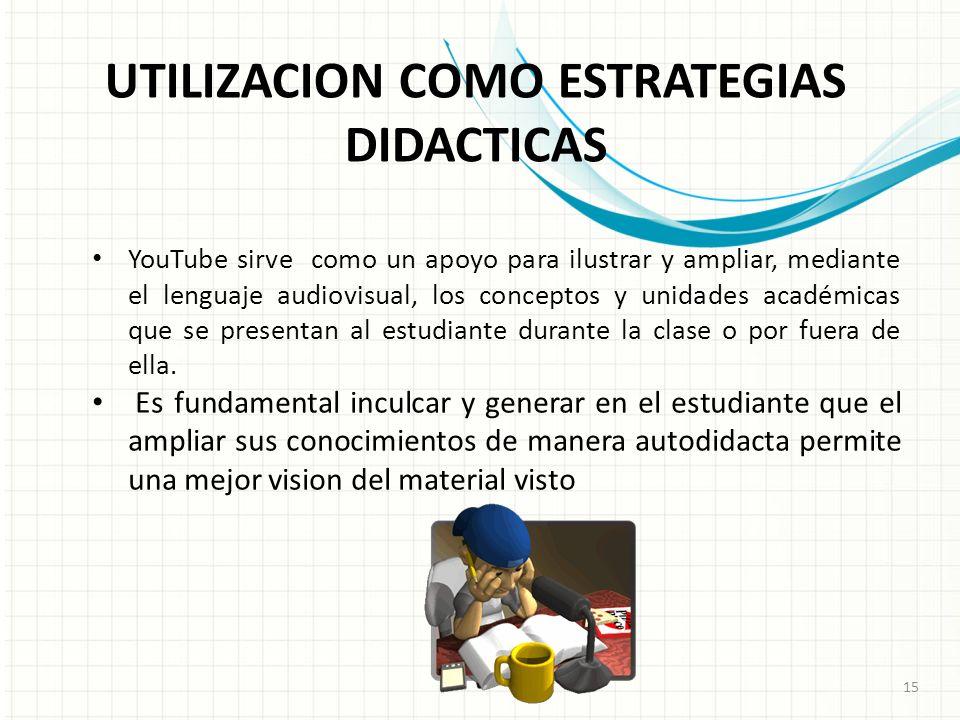 UTILIZACION COMO ESTRATEGIAS DIDACTICAS