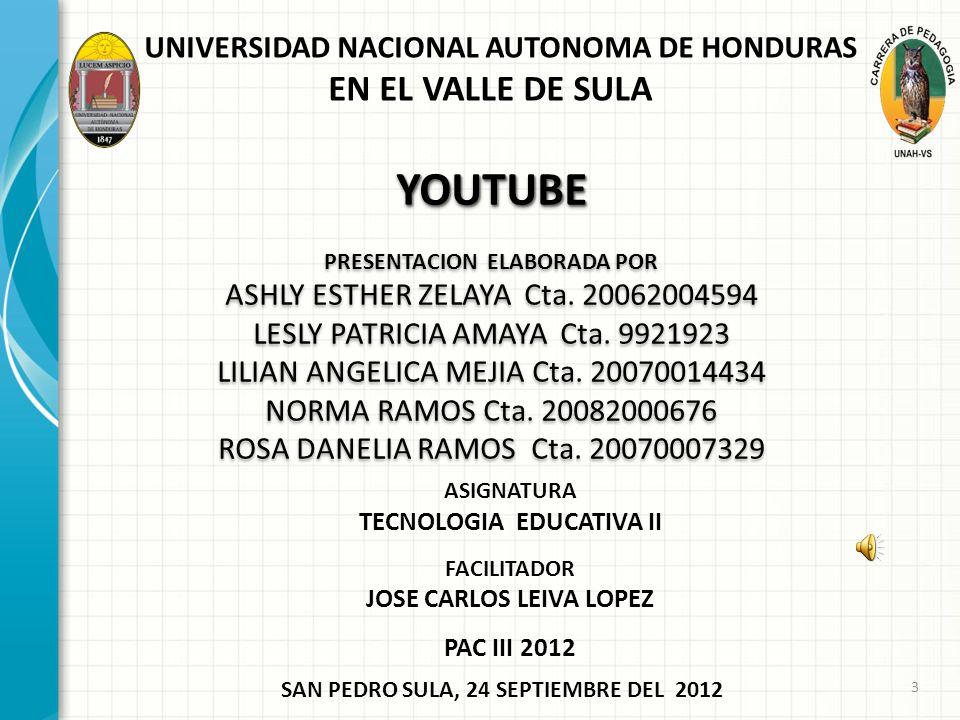 YOUTUBE EN EL VALLE DE SULA UNIVERSIDAD NACIONAL AUTONOMA DE HONDURAS