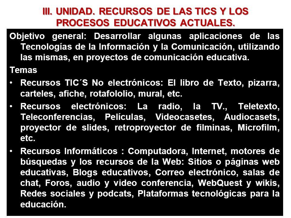 III. UNIDAD. RECURSOS DE LAS TICS Y LOS PROCESOS EDUCATIVOS ACTUALES.