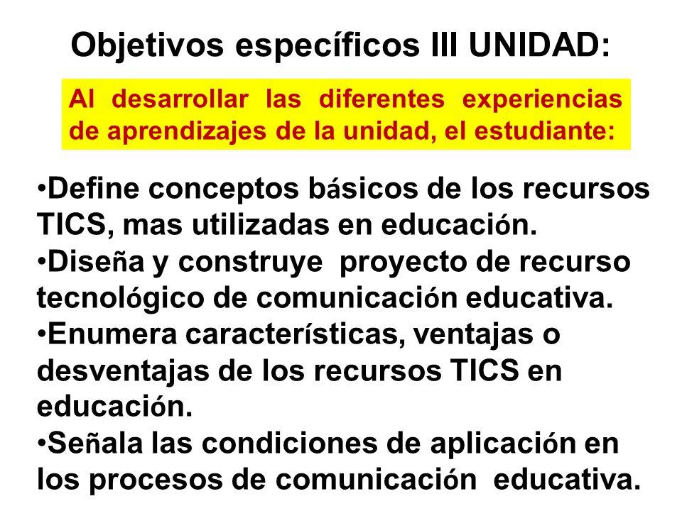 Objetivos específicos III UNIDAD:
