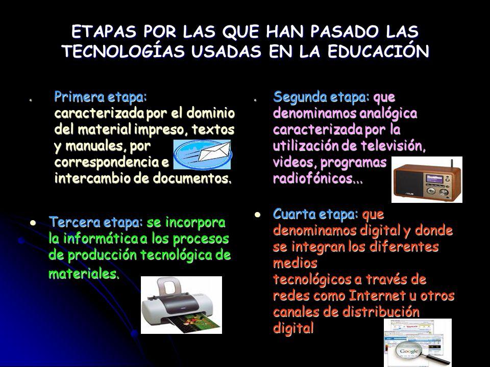 ETAPAS POR LAS QUE HAN PASADO LAS TECNOLOGÍAS USADAS EN LA EDUCACIÓN