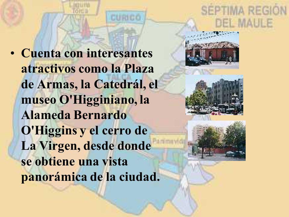 Cuenta con interesantes atractivos como la Plaza de Armas, la Catedrál, el museo O Higginiano, la Alameda Bernardo O Higgins y el cerro de La Virgen, desde donde se obtiene una vista panorámica de la ciudad.