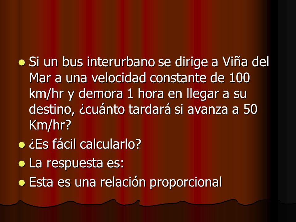 Si un bus interurbano se dirige a Viña del Mar a una velocidad constante de 100 km/hr y demora 1 hora en llegar a su destino, ¿cuánto tardará si avanza a 50 Km/hr