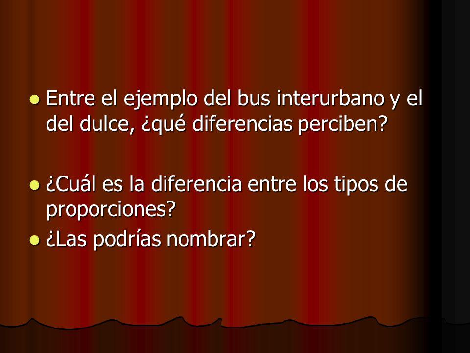 Entre el ejemplo del bus interurbano y el del dulce, ¿qué diferencias perciben