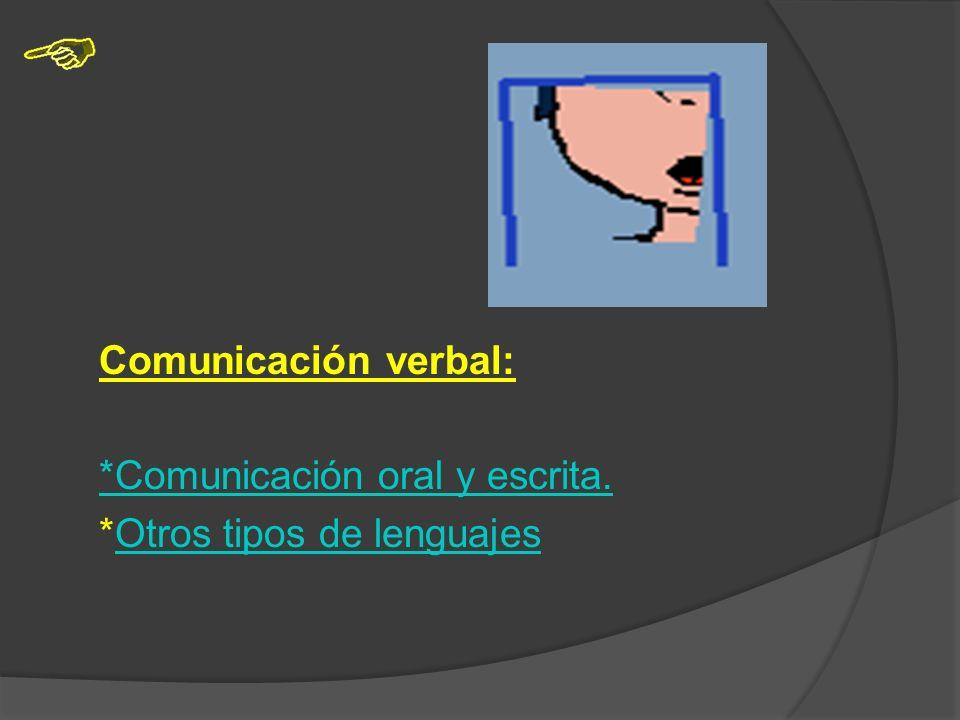 Comunicación verbal: *Comunicación oral y escrita. *Otros tipos de lenguajes