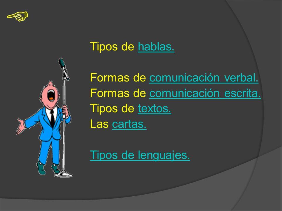 Tipos de hablas. Formas de comunicación verbal. Formas de comunicación escrita. Tipos de textos. Las cartas.