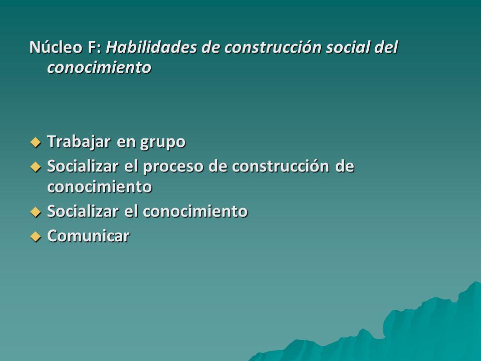 Núcleo F: Habilidades de construcción social del conocimiento