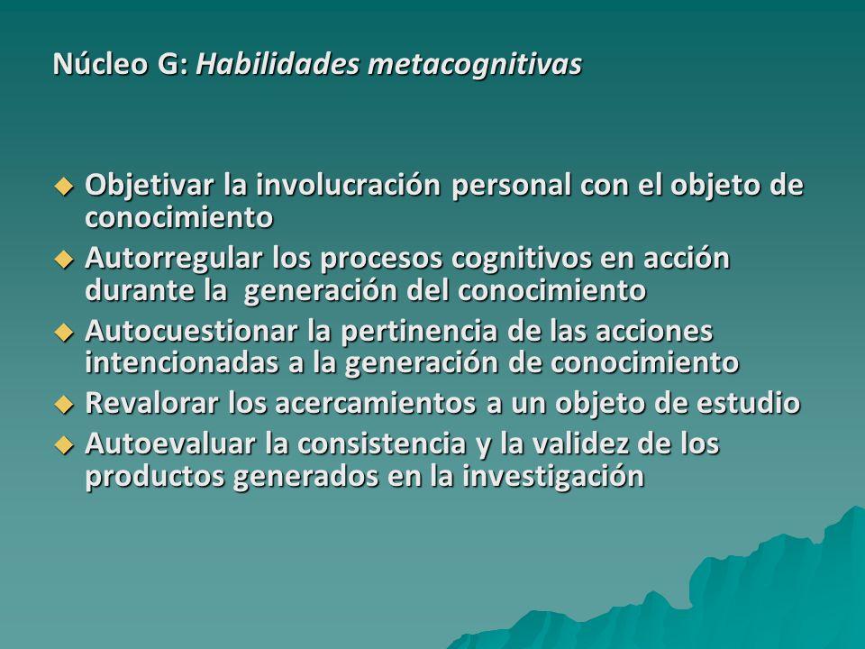 Núcleo G: Habilidades metacognitivas